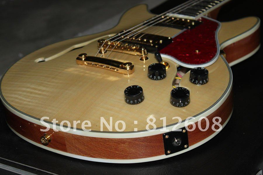 musical instruments very beautiful hollow body natural color electric guitar d in guitar from. Black Bedroom Furniture Sets. Home Design Ideas