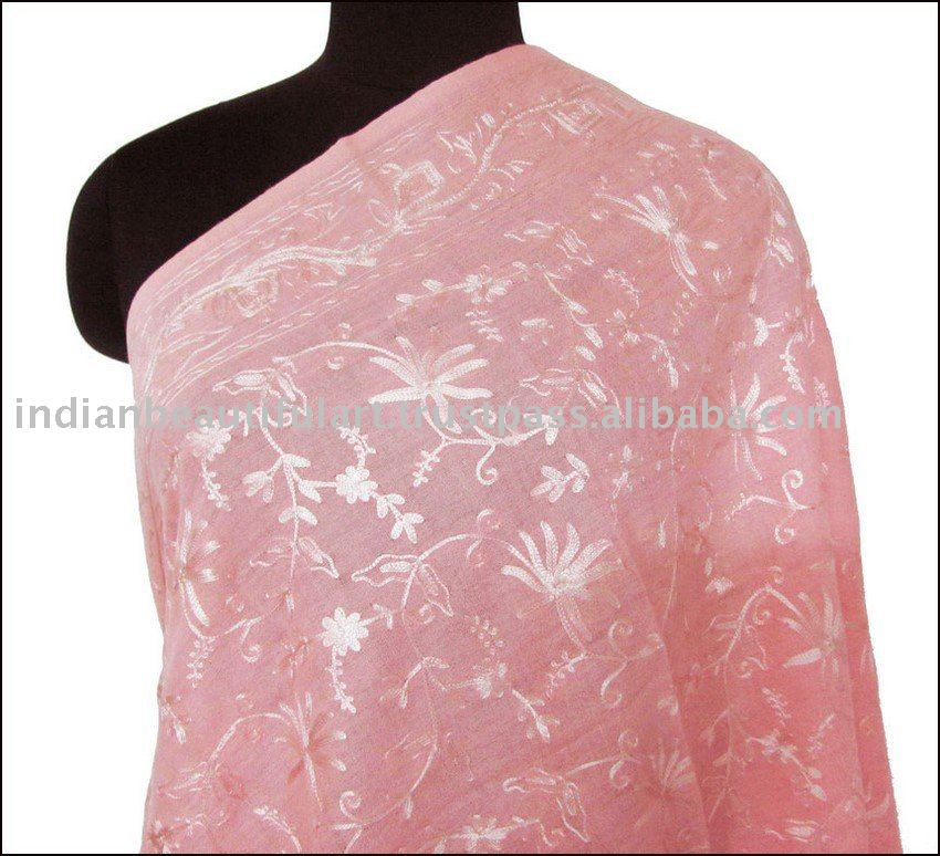 Gift A Shawl Pure Wool, Crewel Embroidery Pink On Pink