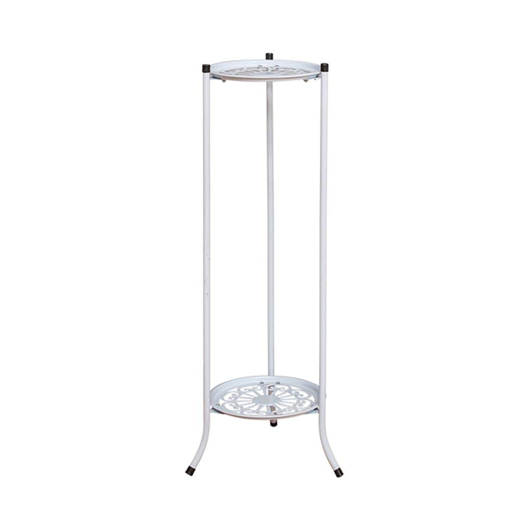 CSQ White Wrought Iron Double Flower Stand, Plant Stand Flower Pot Holder Thick Material Hollow Living Room Bedroom Dining Room Office (Color : #1, Size : 2878cm)