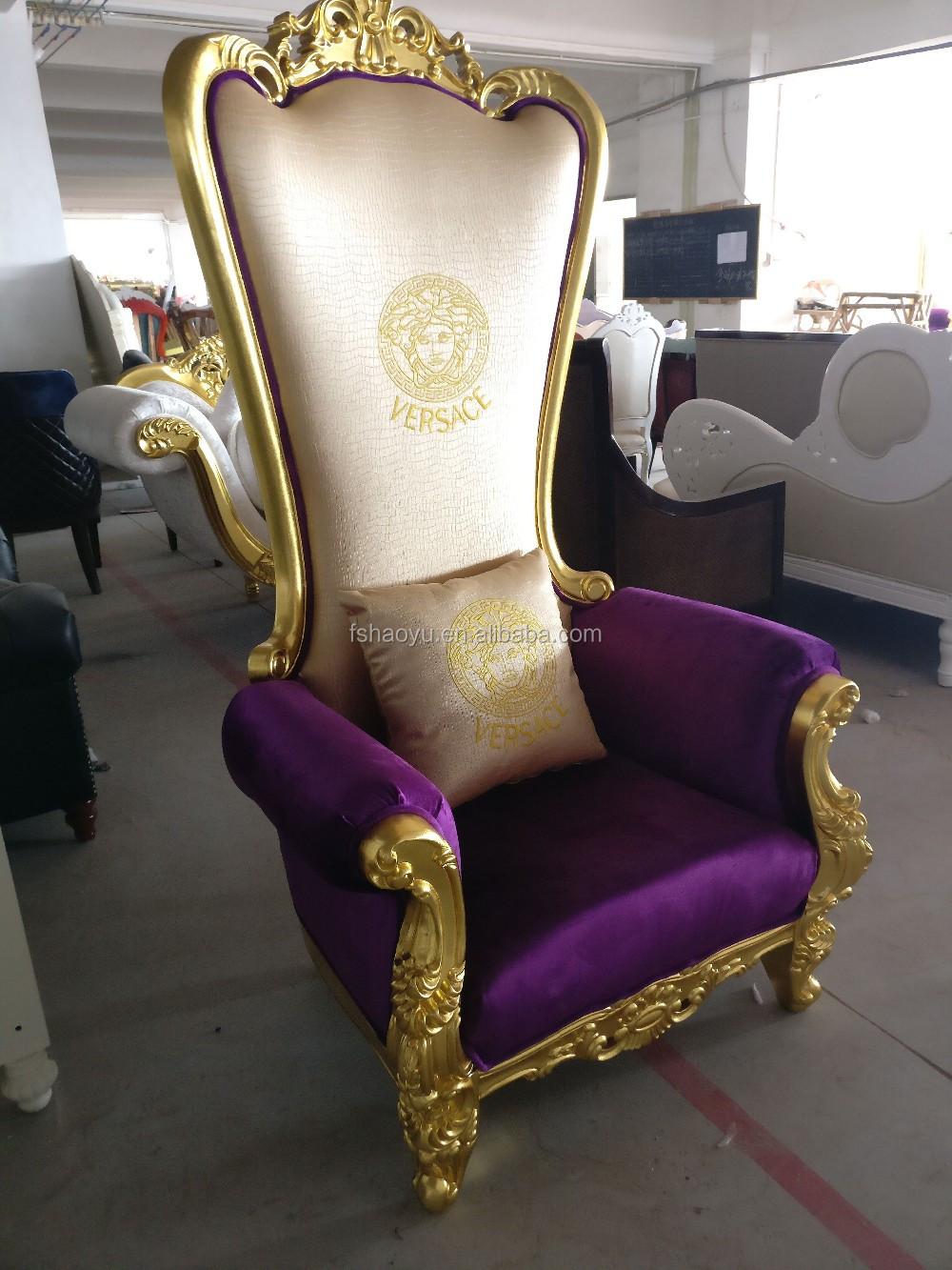Supply Royal King Throne Chair Pu Bergere Chair Purple