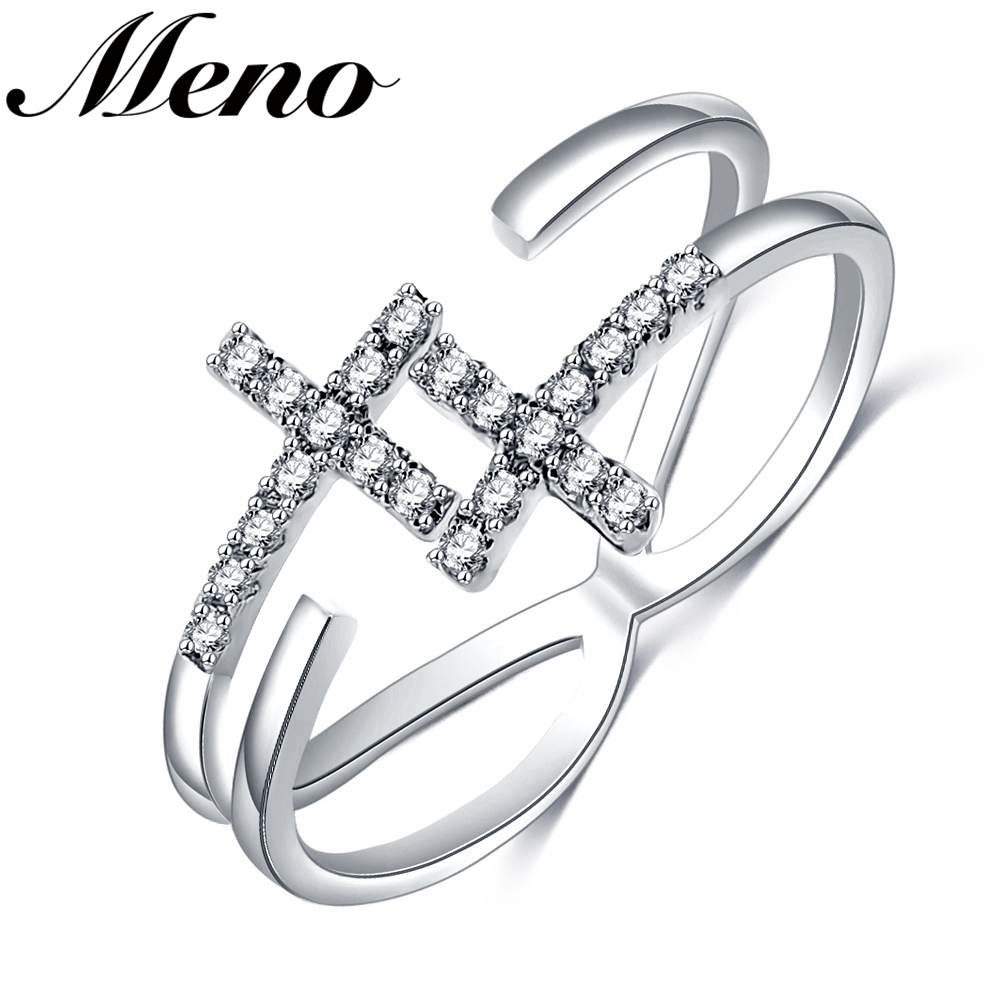 Meno Rhodium plated fashion double cross micro inlay diamond open finger Ring