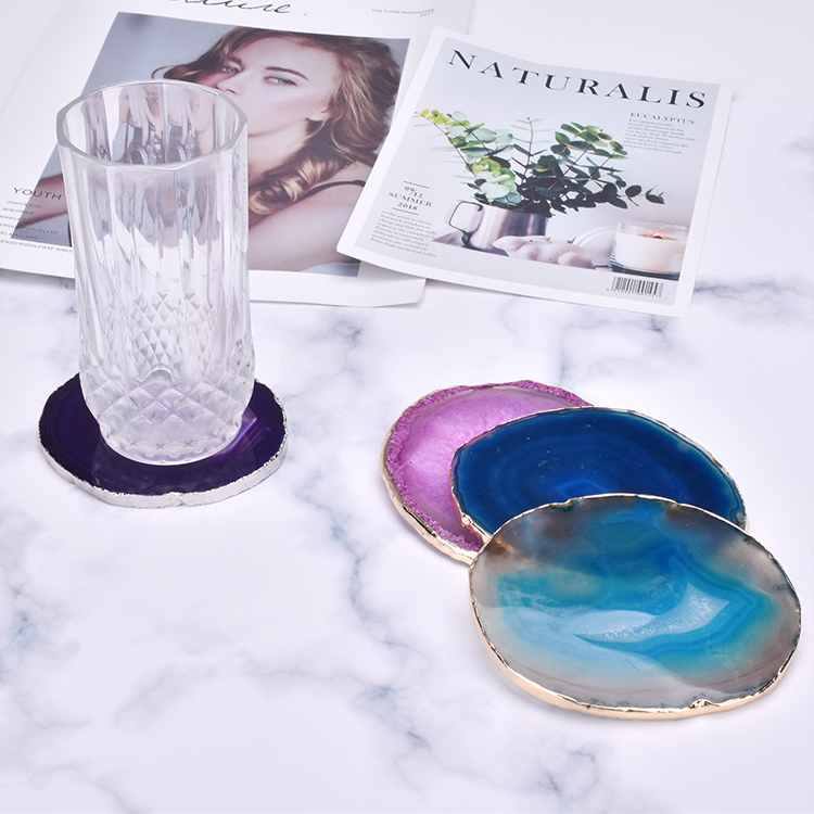 Natural polished crystal stone agate coaster round agate slices with gold rim for Coffee house