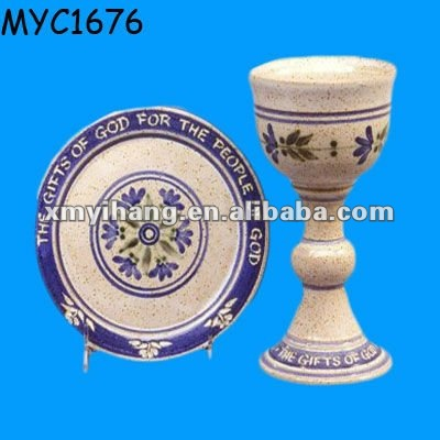 Painting ceramic chalice plate set Communion Ware