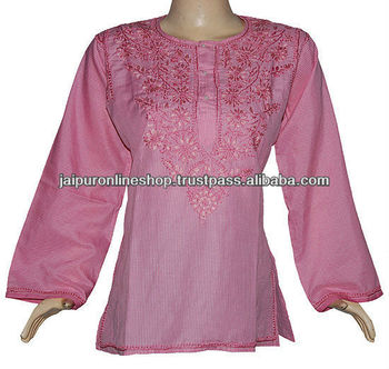 indian embroidery cotton tunic, Cotton embroidery top tunic