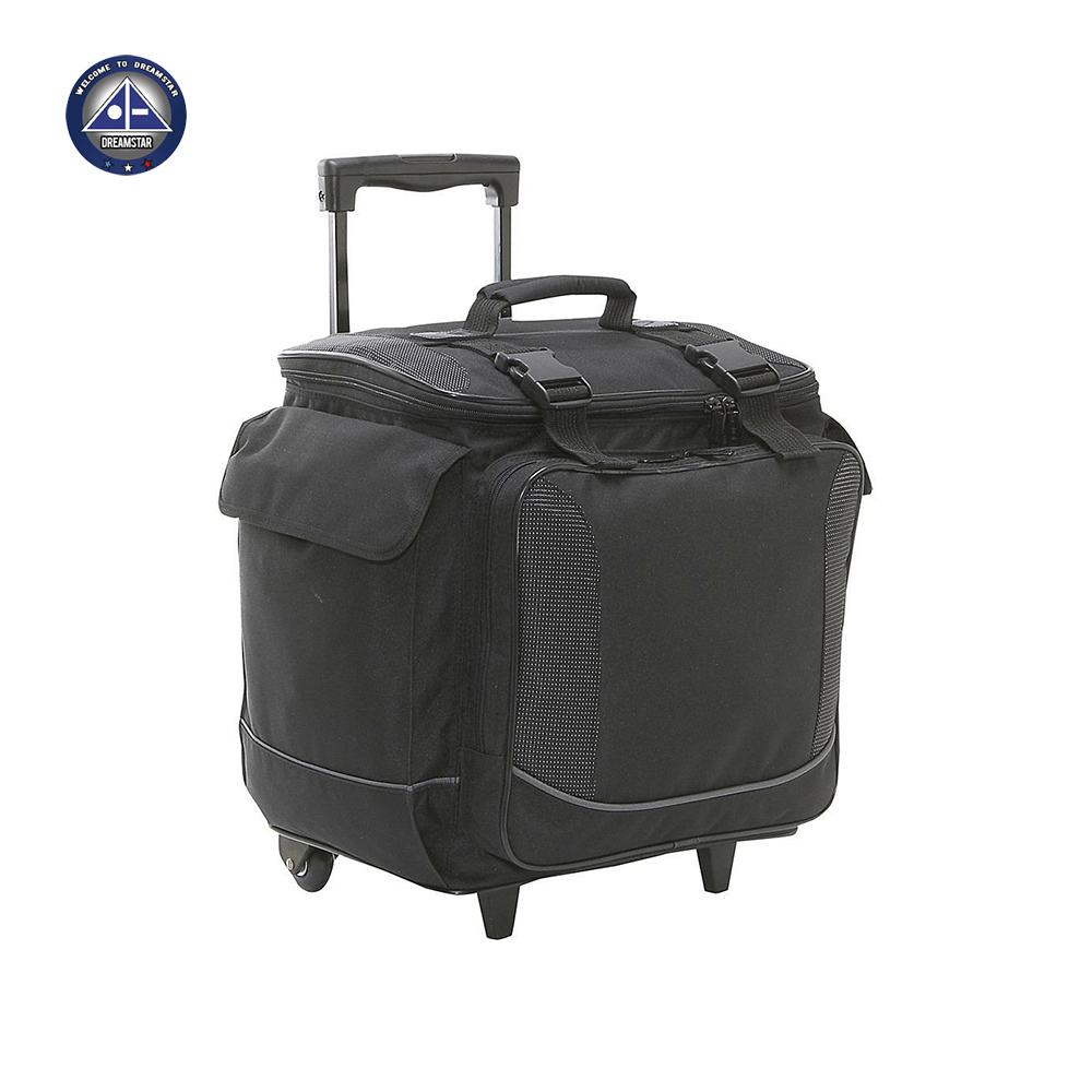 Hot Sale Polyester Bottle Limo 12 Bottle Rolling Wine Case Tote Trolley Cooler with Wheel & Organizer