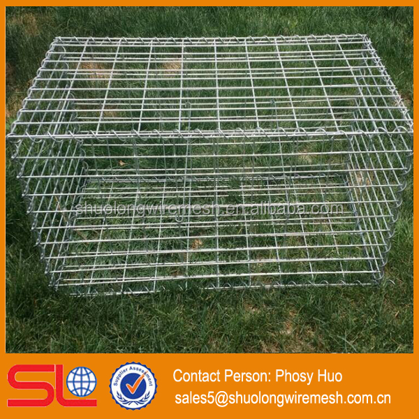 Factory supply galvanized square welded gabion box,caged wall stone