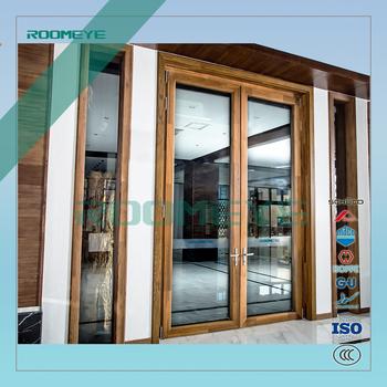 Wood Clad Aluminium Sash Doors New Design Wooden Door Double Glassed Door