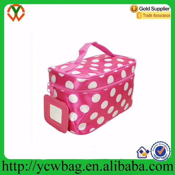 Make up storage organizer box beauty case cosmetic bag with mirror