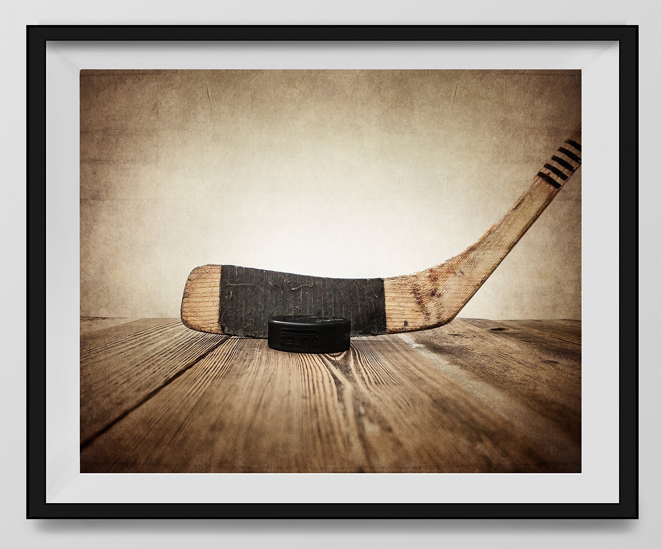 Get Quotations Vintage Hockey Stick And Puck On Background Fine Art Photography Print Sports Decor