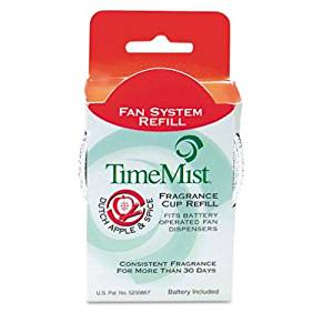 TimeMist Products - TimeMist - Fragrance Cup Refill, Apple & Spice 1 oz - Sold As 1 Each - Patented time-release formula delivers consistent performance for more than 30 days. - Fragrance cup refills for the TimeMist Continuous Fan Dispenser (sold separately). - Includes one D alkaline battery per