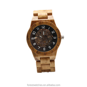 custom oem men skeleton automatic wood watch 2018 wood and steel watch