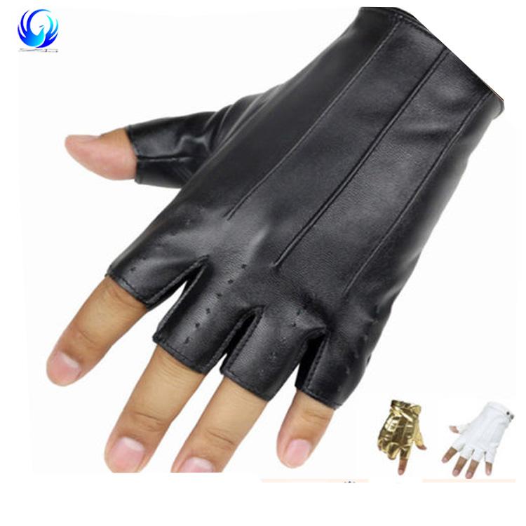 3f162ed14 Fingerless Leather Gloves Men Women Half Finger Thin Mittens Black Gold  White