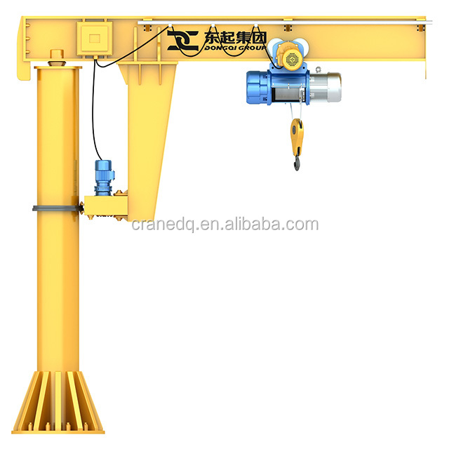 2 ton Pillar Msounted Column Jib Crane With Wire Rope Hoist Pendent Control for sale