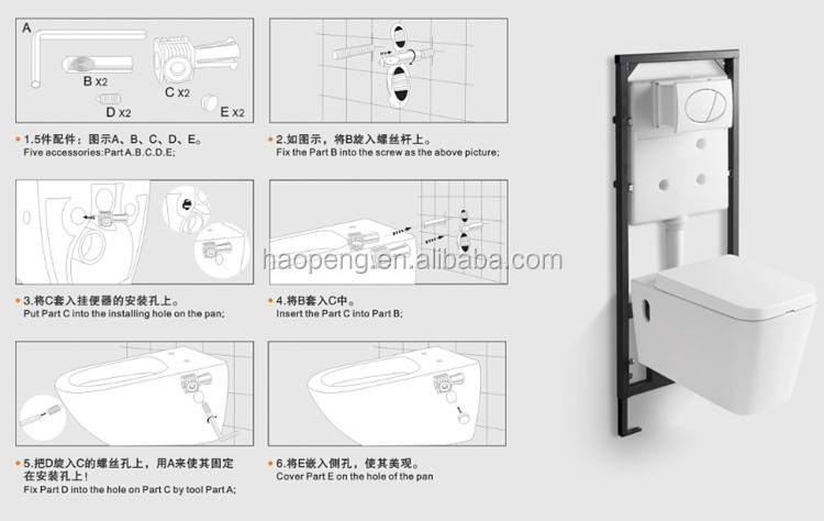 European Style Wc Toilet Bowl Wall Hung Toilet Dimensions P Trap