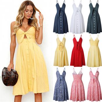b8561d09b4 2018 Womens Holiday Strappy Button Dress Ladies Summer Beach Midi Swing Sun  Dress