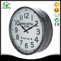 simple home decoration silver metal frame round wall clock
