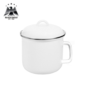 Food grade design enamel mug with lid