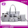 2016 new arrival model snakeskin grey PU leather lady purses and handbags in sets for wholesale
