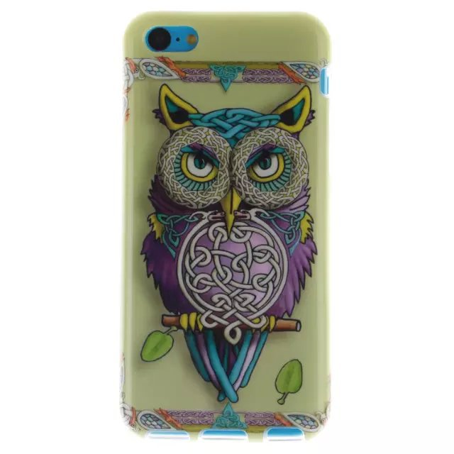 Cute Cartoon Owl Dandelion Retro Floral Capa Case Back Cover Para for Apple iPhone 5C TPU Soft Silicone Phone Shell