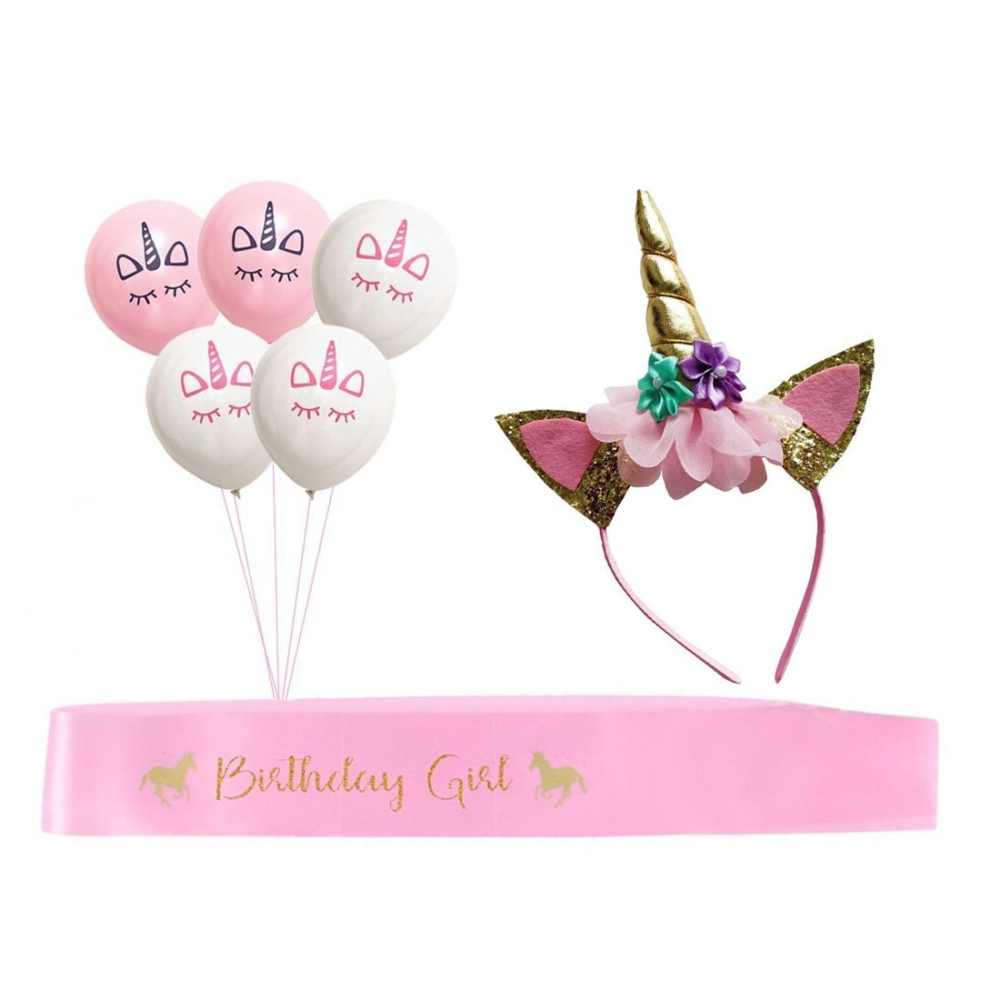 Muhuyi Unicorn Birthday Girl Set Of Gold Glitter Headband And Pink Satin Sash With 20Pcs