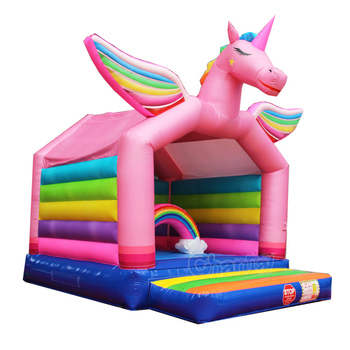 sparkling unicorn inflatable jumping bouncer house for kids
