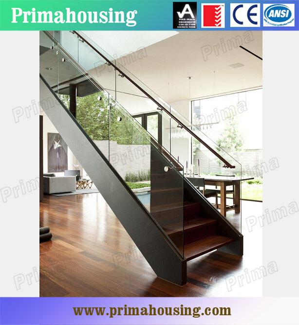Indoor Wooden Stair Design Prefabricated Steel Stringer Stairs