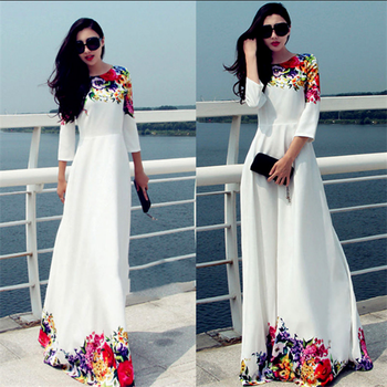 3a4dbbc087 Etiqueta  Fábrica de vestidos nuevos de las mujeres con blanco Floral  vestido Maxi Floral de