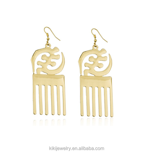 Custom Gold Plated Gye Nyame Pendant Earring Adinkra Symbols Jewellery of West African Design Drop Dangle Africa Earrings