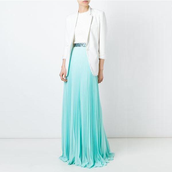 ホット販売女性ロングスタイルシルクプリーツスカート、女性のためのoemブランクライトブループリーツマキシスカート