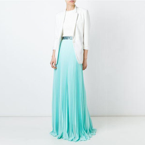 Hot Sale Women Long Style Silk Pleated Skirts,Oem Blank Light blue Pleated Maxi Skirts for women