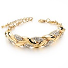 Braided Gold Bracelets & Bangles With Stones Luxury Crystal Bracelets For Women Wedding Jewelry