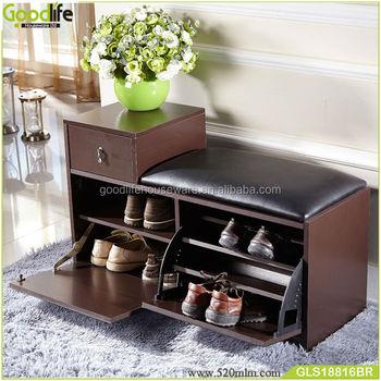 Beau Fashion Corner Shoe Cabinet With PU Seat
