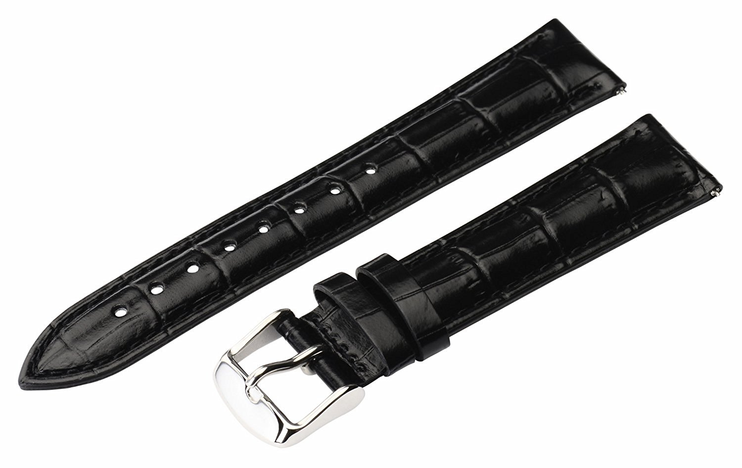 20mm 2 Piece Ss Leather Classic Croco Grain Solid Black Interchangeable Replacement Watch Band Strap