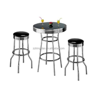 Chrome home kitchen bar furniture round pub table and bar stools set