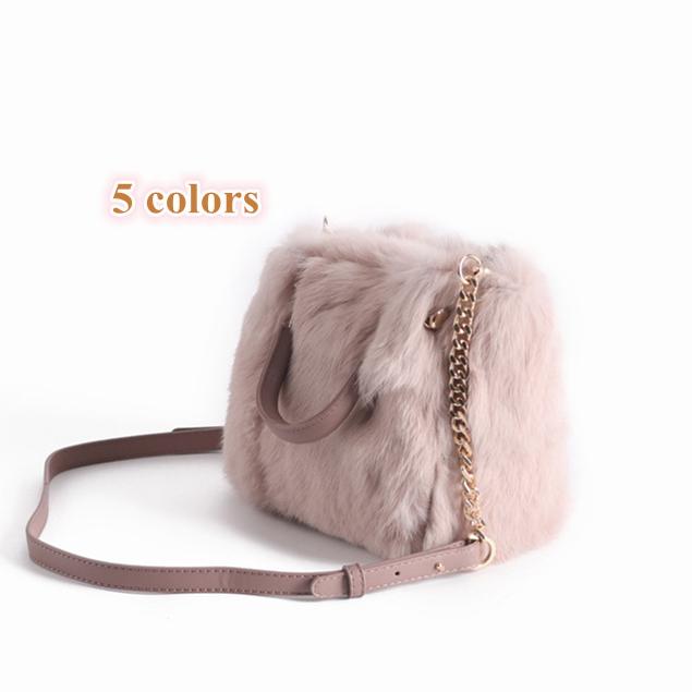 2018 Women Luxury Mink Fur Handbag Silver Fox Fur Bags Real Fur Bags Lady Super Fashion Mink Bags Apparel Accessories