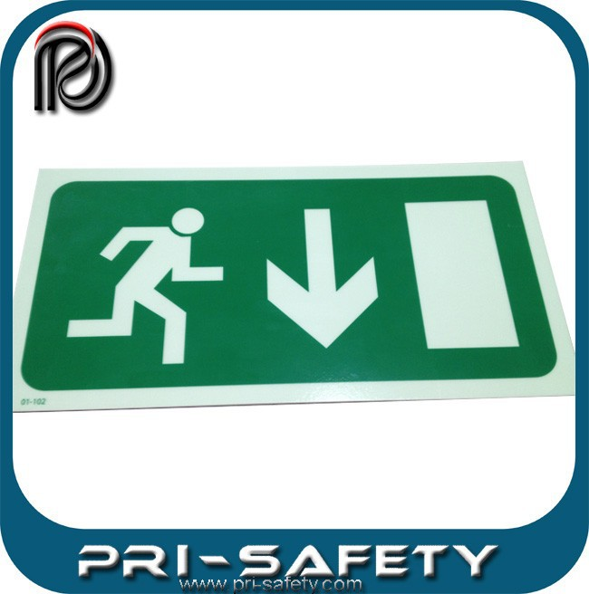 140x390mm Photoluminescent fire safety exit signs