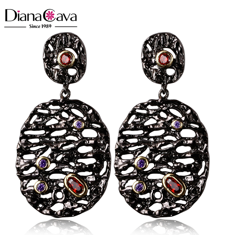 Trendy Plating Effect 2016 Black Gold Color Zircon Crystals Hollow Design Earrings