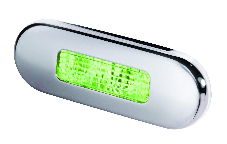 HELLA 959680911 '9680 Series' Multivolt Green 10-33V DC LED Step Light with Polished Stainless Steel Rim