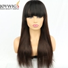 "1b/4# ombre color overflow 20"" inches straight hair wig human hair wigs lace front wig with bangs fring"