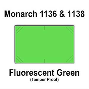 112,000 Monarch 1136/1138 compatible Fluorescent Green General Purpose Labels to fit the Monarch 1136, Monarch 1138 Price Guns. Full Case + includes 8 ink rollers.