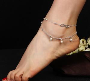 2d19605d1030dd Fashion Imitation Pearls Infinity Anklet Bracelet Summer Barefoot Sandals  Beach Foot Jewelry Sexy Leg Chain Female