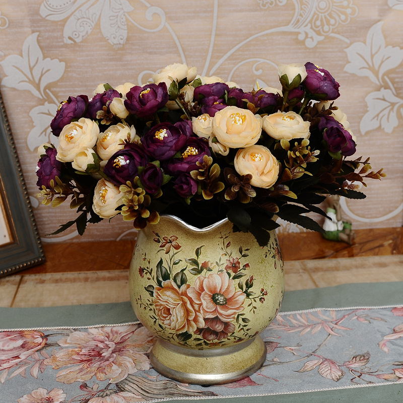 1Bunch European Vintage Retro Artificial Tea Rose Bouquet Plant Floristry Silk Flower Arrangement Home Decoration