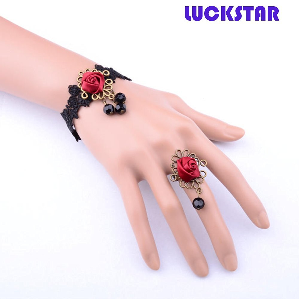 LUCKSTAR(TM) 3PCs Women Fashion Gothic Retro Style Bracelet Set Wrist Band with Ring for Christmas Gift Halloween Masquerade Party Prop