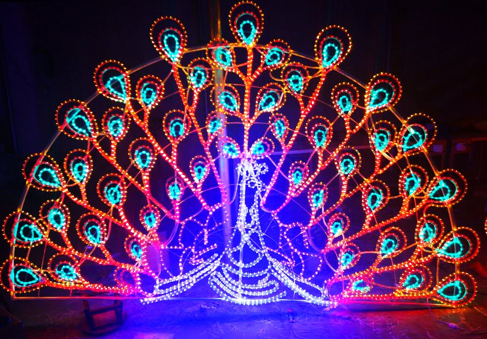 quality control and welcome custom made peacock christmas decorations led motif light 3d
