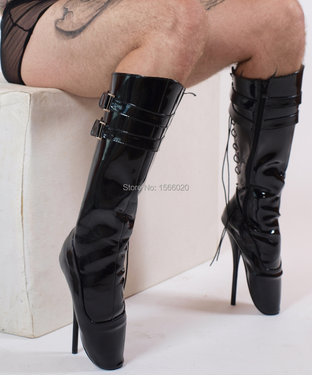 Lace Up Ballet Shoes With Heels Black