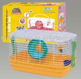 Colourful wire hamster cage with movable plastic toys