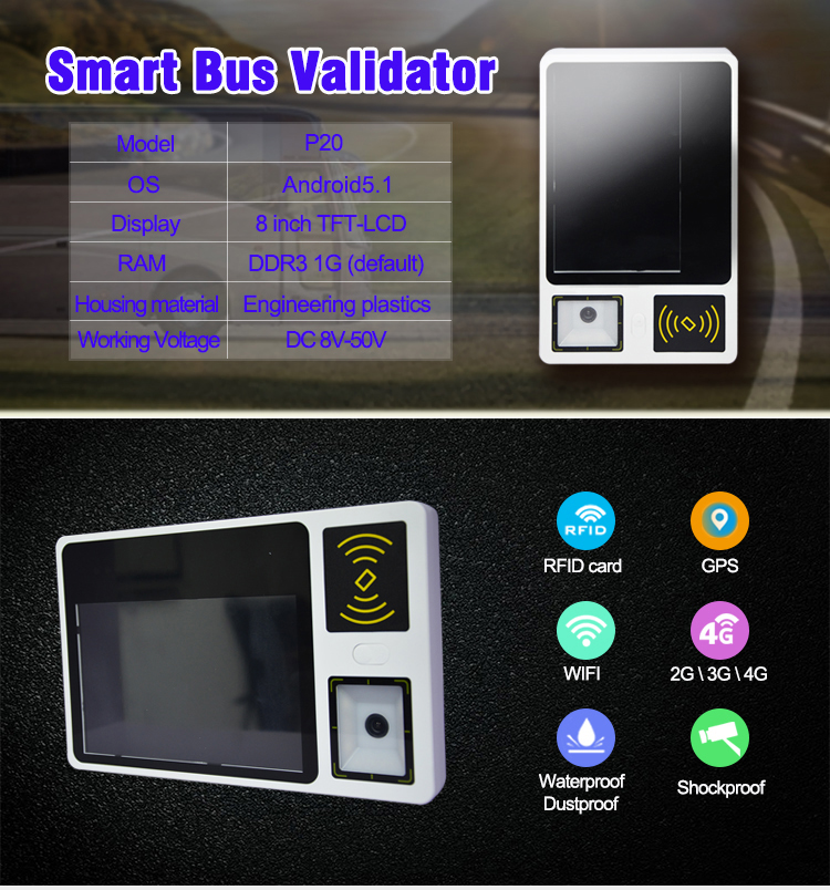 8 Inch Capacitive Touch Screen Wireless Bus qr Code Scanner With 58mm Thermal Printer P20