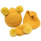 Vogue cotton newborn hats baby Children knitted hat and scarf set with fur balls