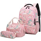 Kids Bookbags Set Teens Shoulder Bags and Lunch Tote Bag Pencil Case Girls School Bags Unicorn Backpack