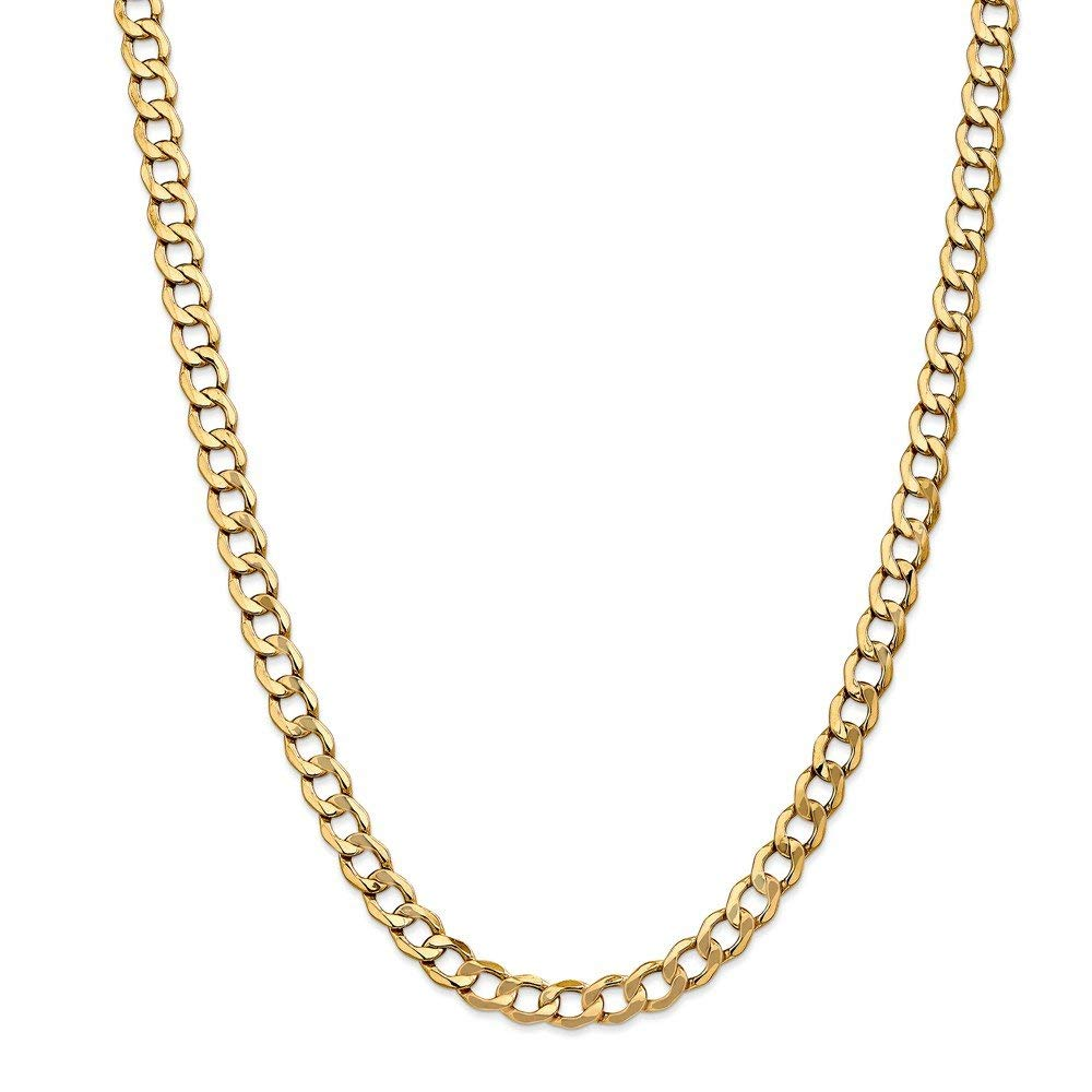 14k Yellow Gold Hollow Polished Lobster Claw Closure 7.0mm Semi-solid Curb Link Chain Bracelet - Length Options: 7 8 9